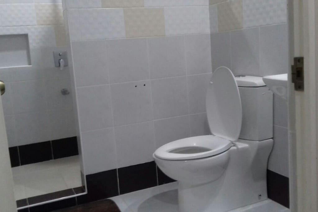 Clean toilet & bath with hot and cold shower