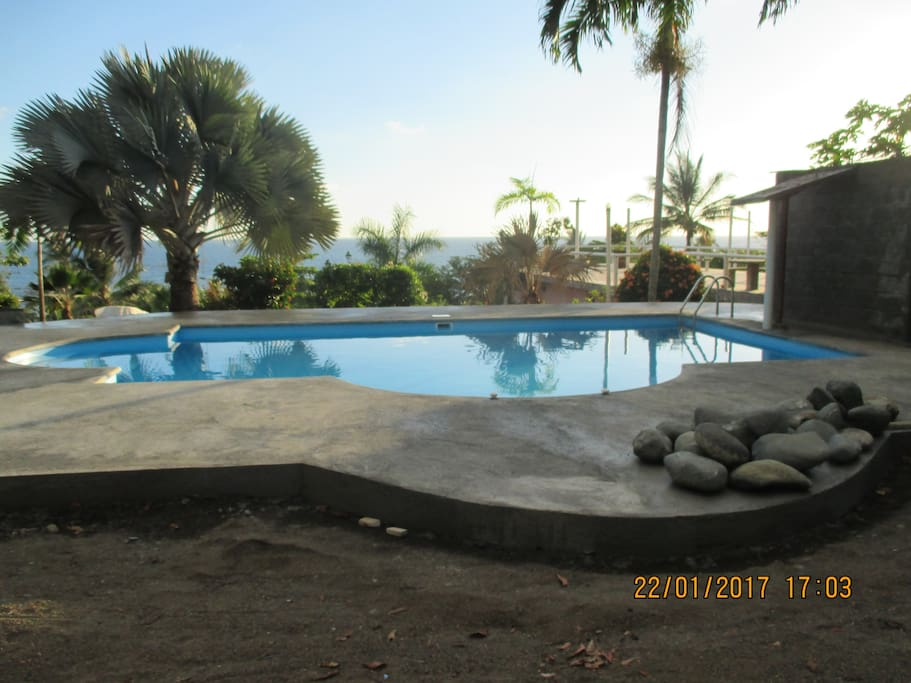 Swimming pool 40m2  with ocean view.