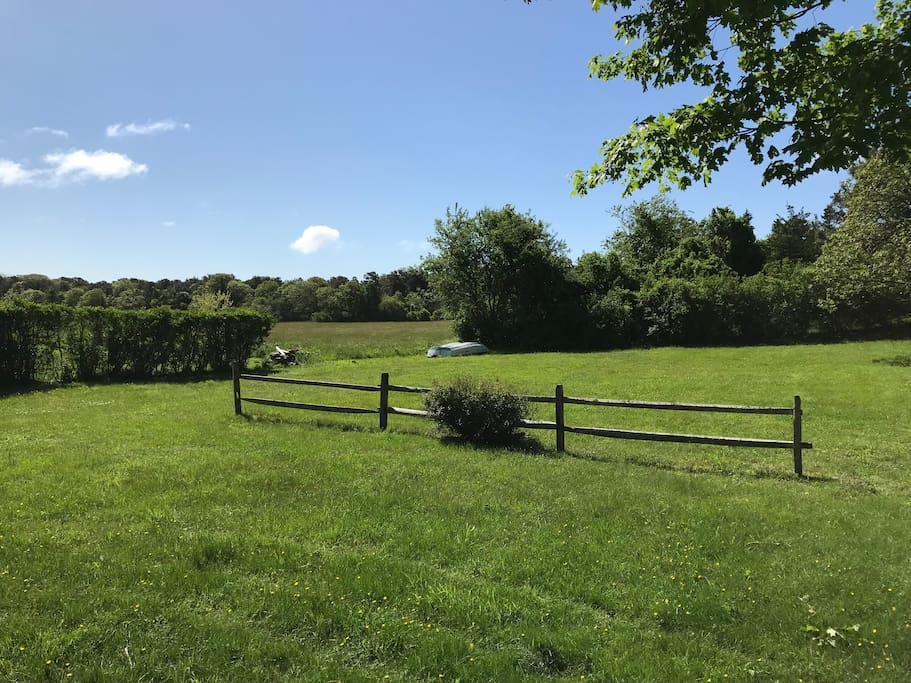 Backyard with view of protected farm land