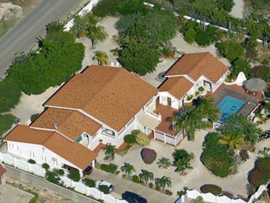 Arial view of the villa and surrounding property.