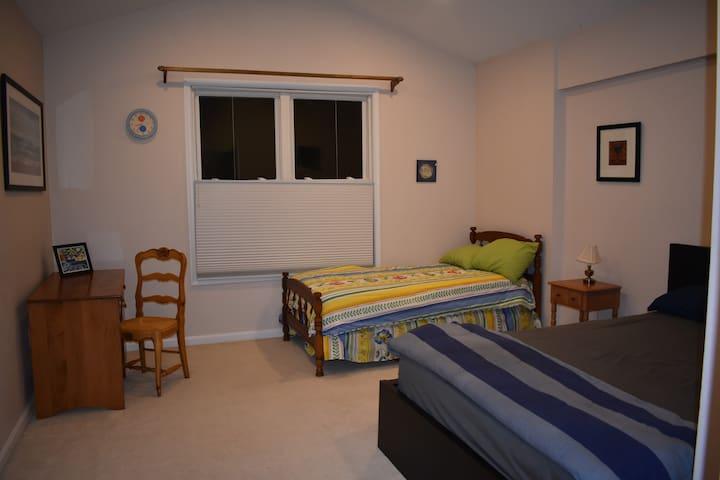 Master bedroom in quiet Fairfax home.