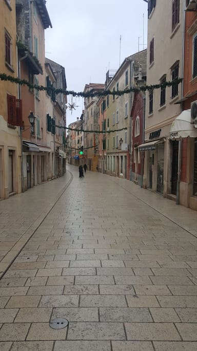 Main street of Rovinj. Apartment is placed in the middle of this nice street packed with shops and full of people during summer months.