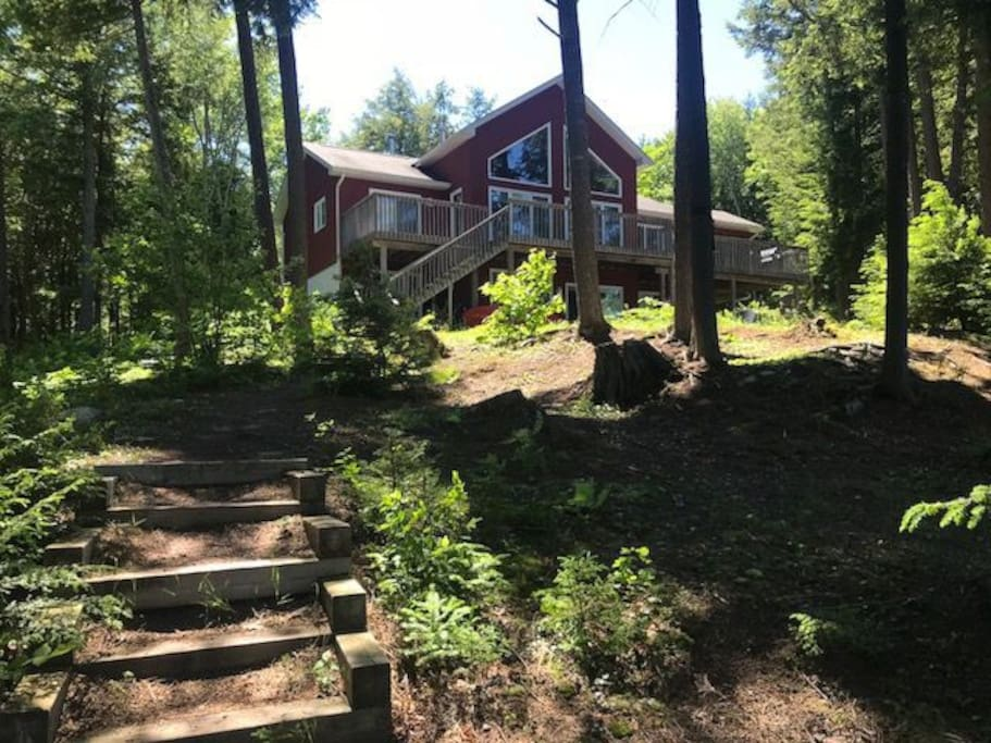 view of the cottage from the dock