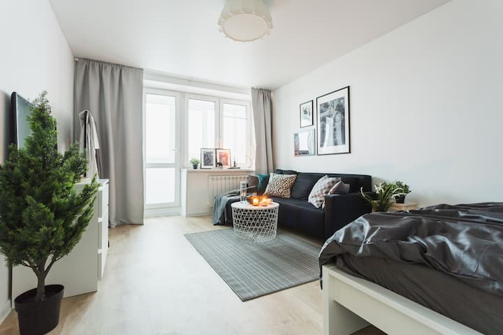 Cozy apartment for 4 guests just in 400m from Vnukovo airport terminal