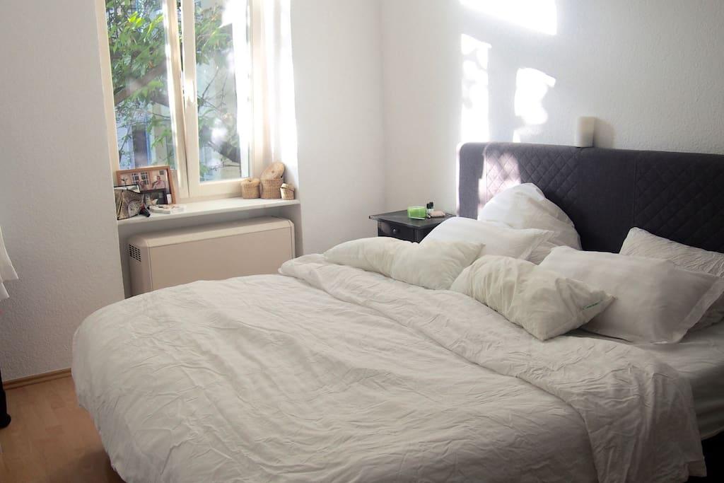 Cozy 1.8m king size bed facing backyard