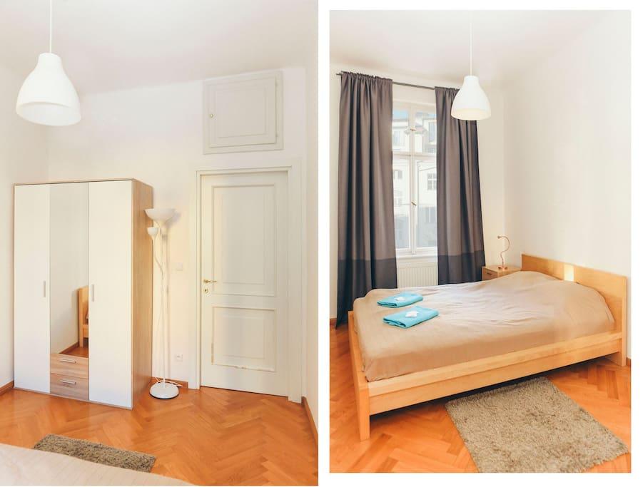 cosy bedroom with wardrobe