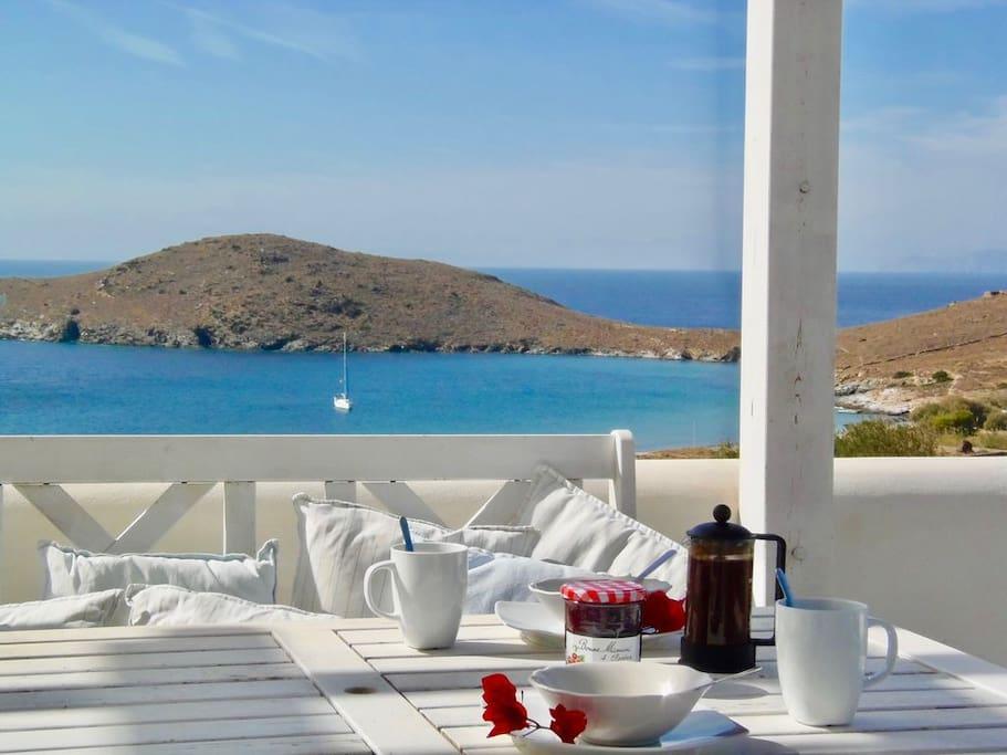 House 1 - Breakfast on the balcony overlooking Delfini beach