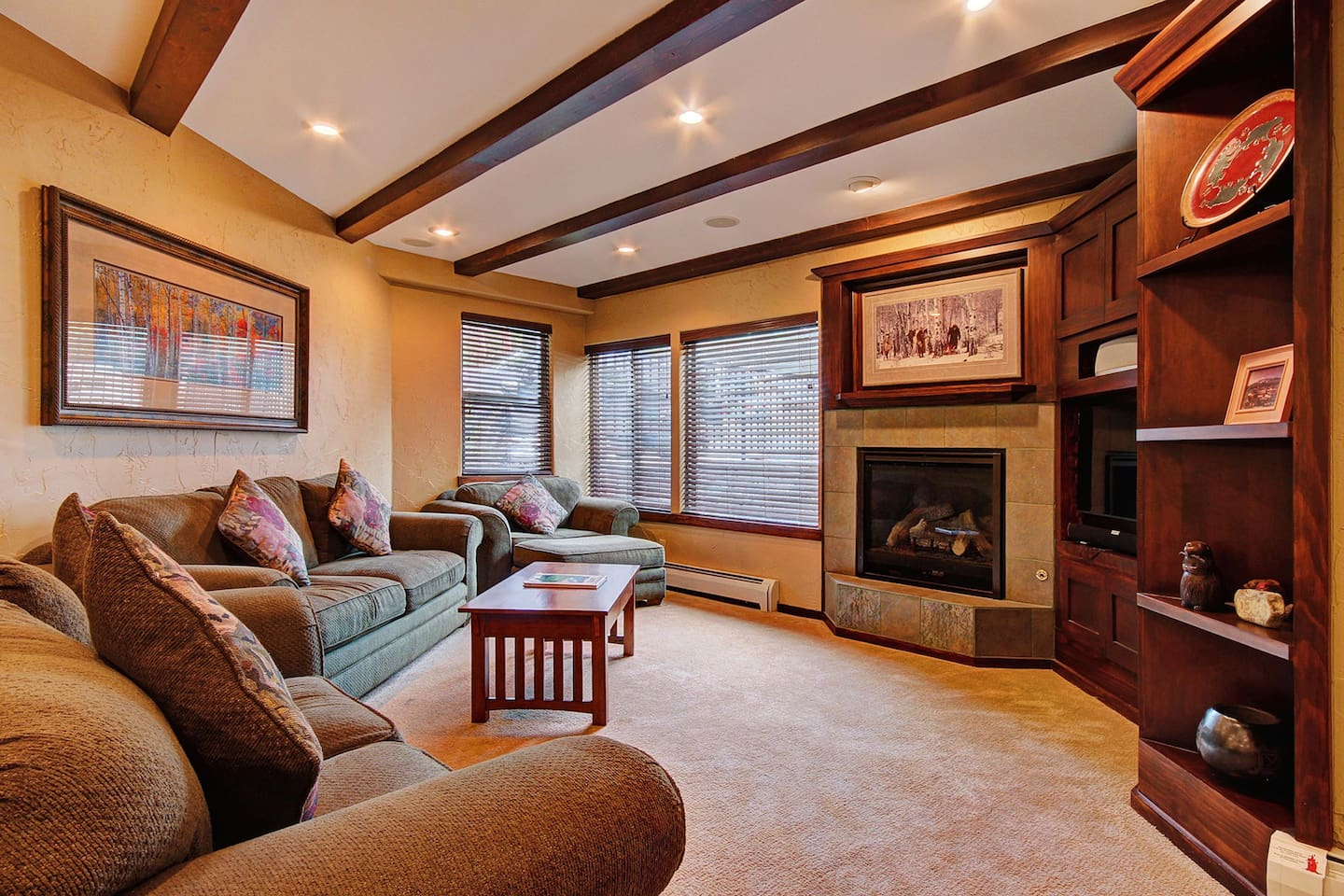 The Lift C12 - a SkyRun Breckenridge Property - Cozy living room with gas fireplace and flat screen TV
