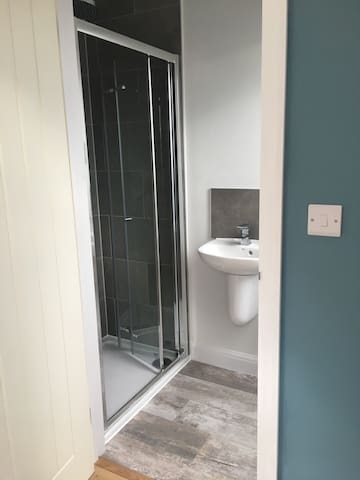 En-suite shower room with sink and toilet for private use.