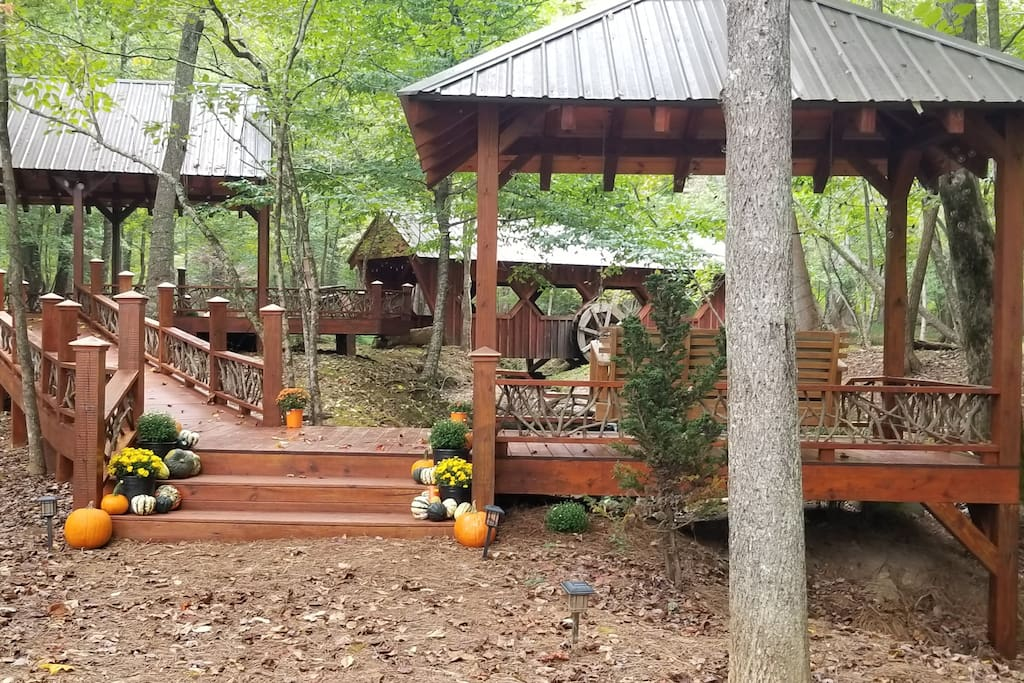 The pavilions & covered bridge is beautiful during fall.