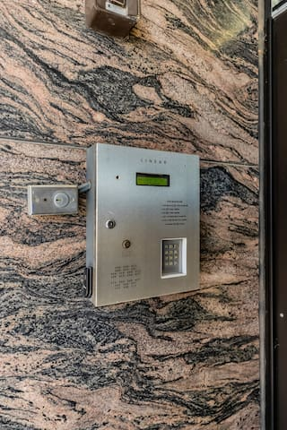 IF you arrive after 10pm you must use this callbox to buzz in. Once you check in you'll have a key fob that can unlock these doors at this callbox