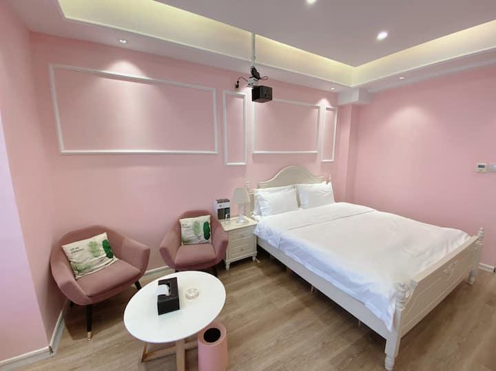粉色空间·城宿•网红拍照•小吃街旁•文理学院对面 水木清华北门