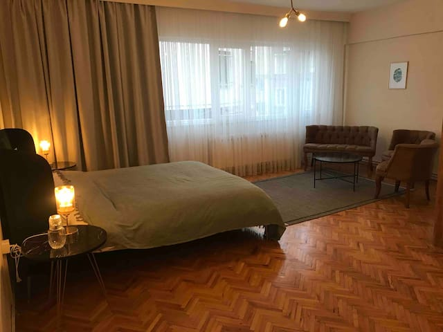 35m2 suite bedroom with private working space and sofa set There is blackout curtains for big windows