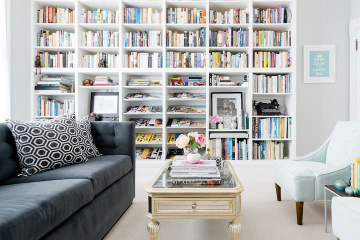 Room in Modern Victorian 2BR Apartment with Light-Filled Library