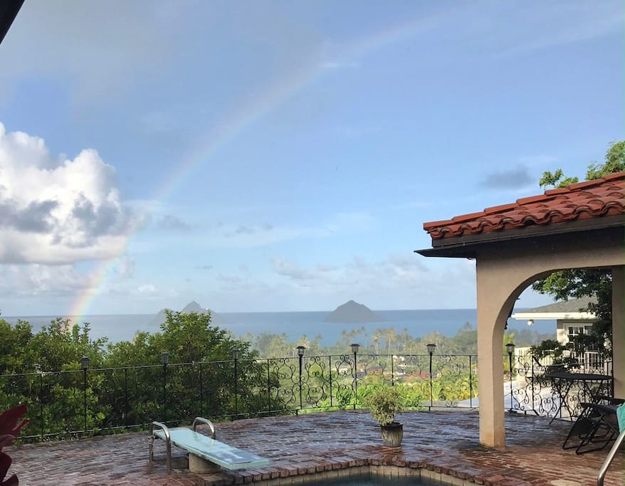 Rainbow over the house taken by a guest
