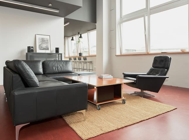 Huge leather sofa in the living area