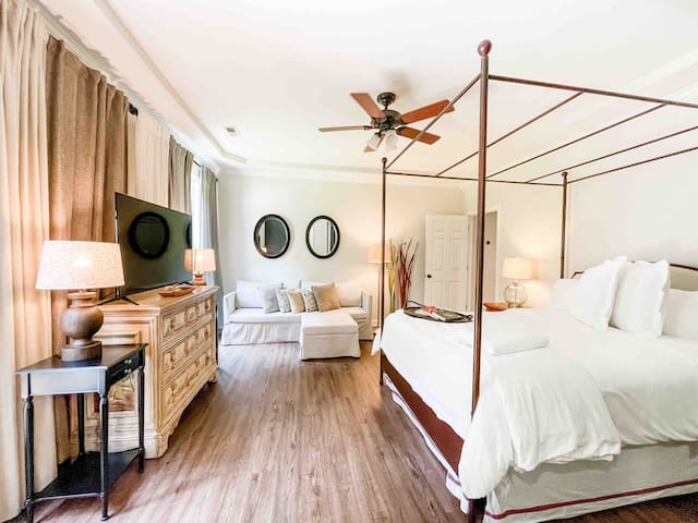 Master Suite on the Main Level - Carriker Cottage at Old Haigler Inn Mint Hill NC