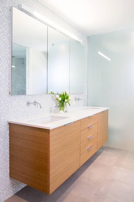 Master bath vanity with double sink