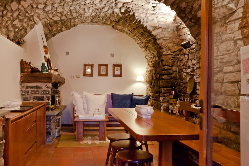 Kitchen in the stone room, garden level. You can find cookers,Fridge,dishwasher,plus pots, glasses, cutlery,dishes,coffee machine.