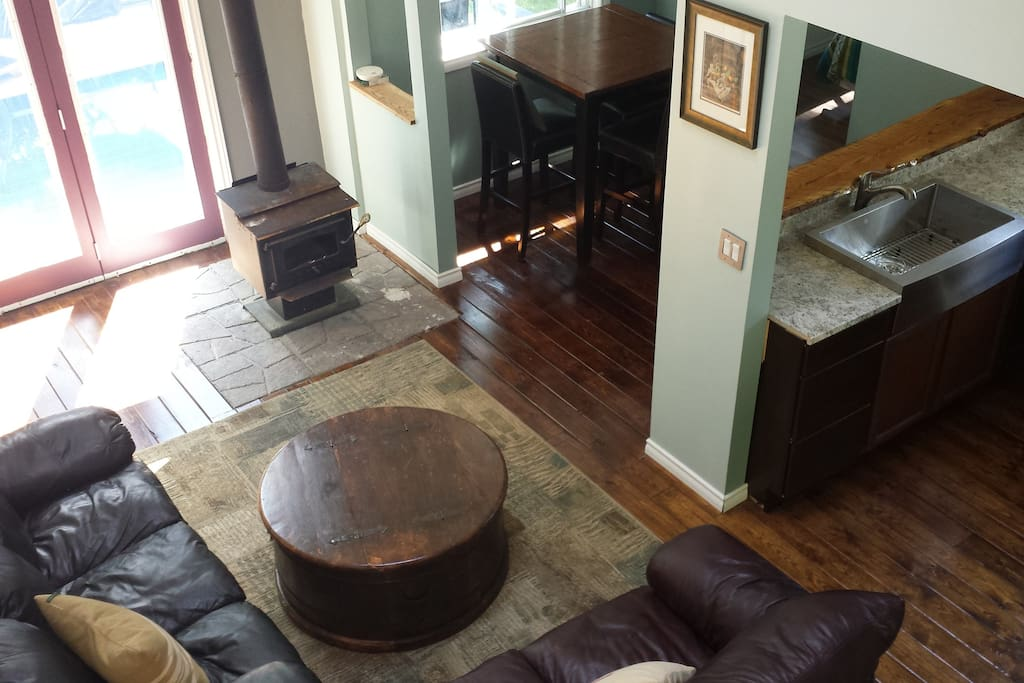 View of open concept living room from above