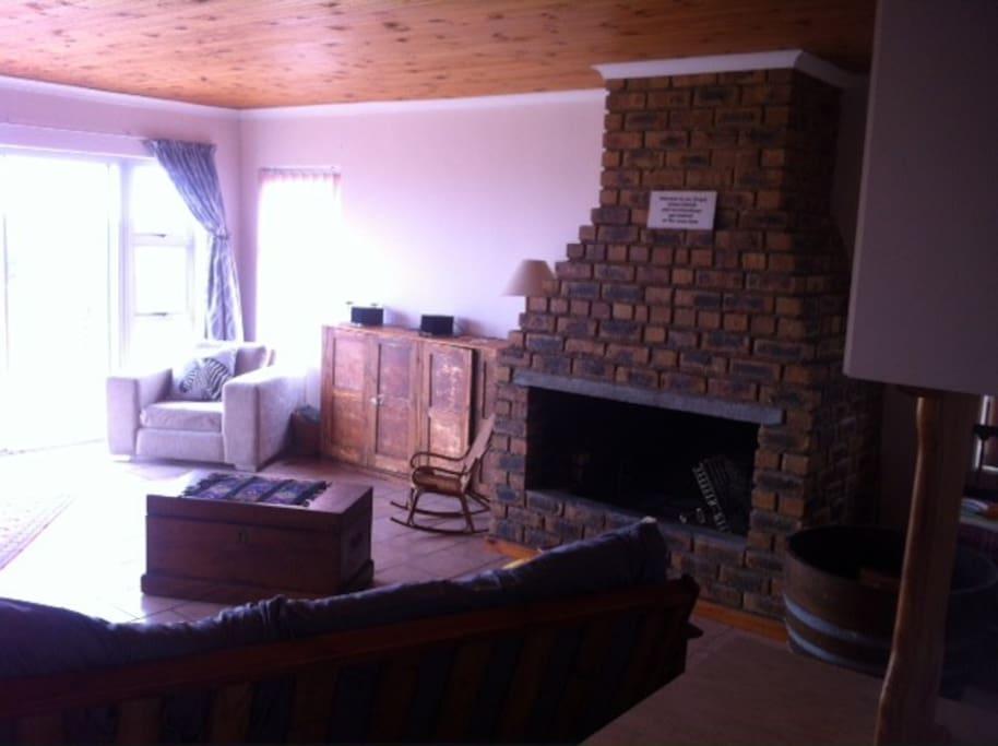 Large indoor fire/braai in the lounge.