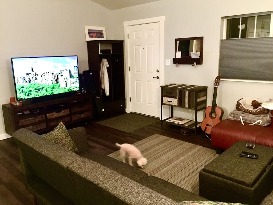 """52"""" HD TV with cable, WiFi, Amazon Fire stick and a sound bar with Bluetooth capabilities. Hall tree for coats and spacious living space. To help you relax, the TV cart is filled with games, art supplies and there's a yoga mat for you to continue your workouts while you're away."""