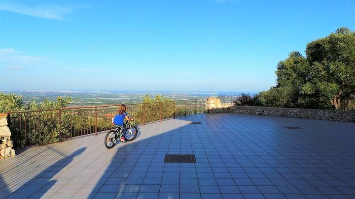 Villa panoramica tra SR e Noto, vicino mare, wi-fi
