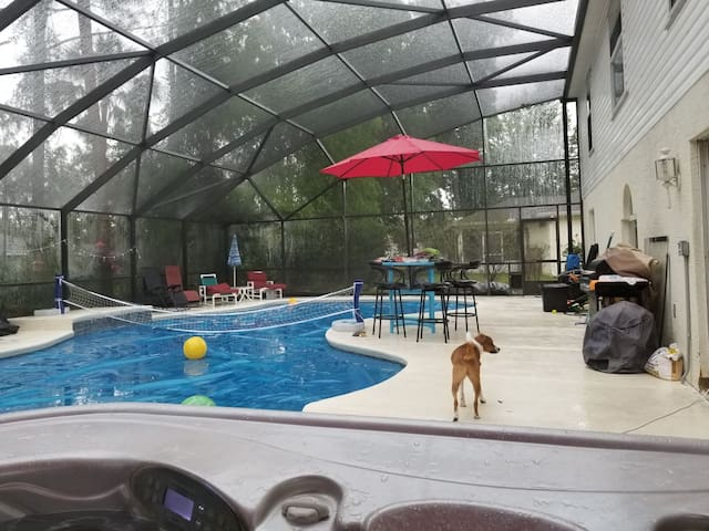Enjoy breakfast on our large quiet lanai, enjoy the  pool, Volleyball, water basketball, hot tub.