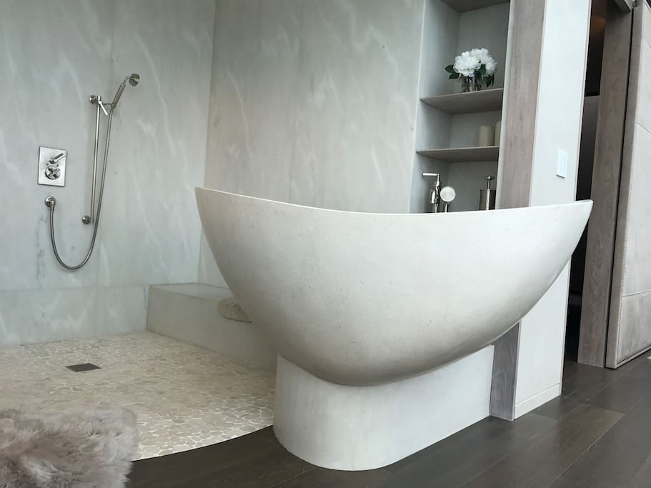 Limestone bath tub perfectly angled to have a direct view of the Golden Gate Bridge