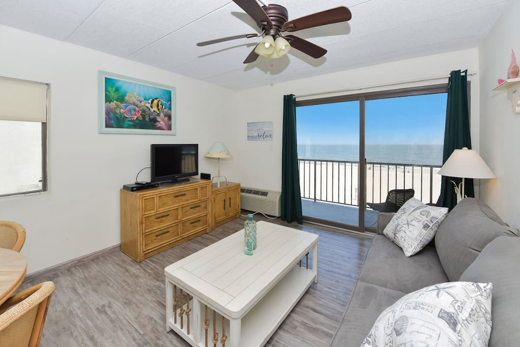 Living Room with View of Ocean and Boardwalk