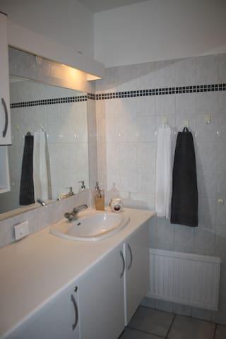 A bathroom with a bathtub with a shower