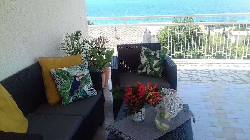 Studio Apartment, seaside in Novi Vinodolski (Crikvenica), Terrace
