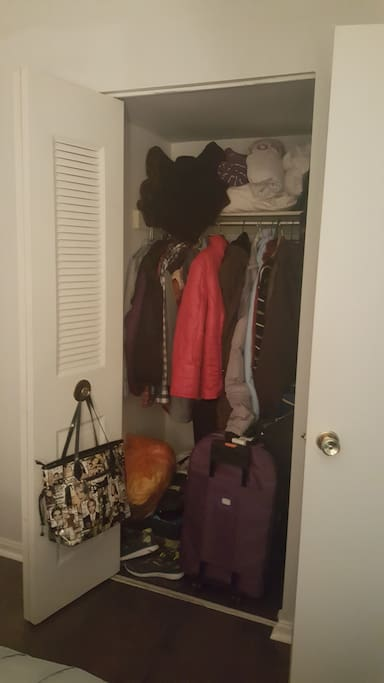 Sizeable closet with shelves on the right side to store your belongings while here!  My in-laws are in town for the next week, so here you see their things, along with in the bathroom, on the nightstand, and kitchen.  I promise these things won't be here when you arrive! :)