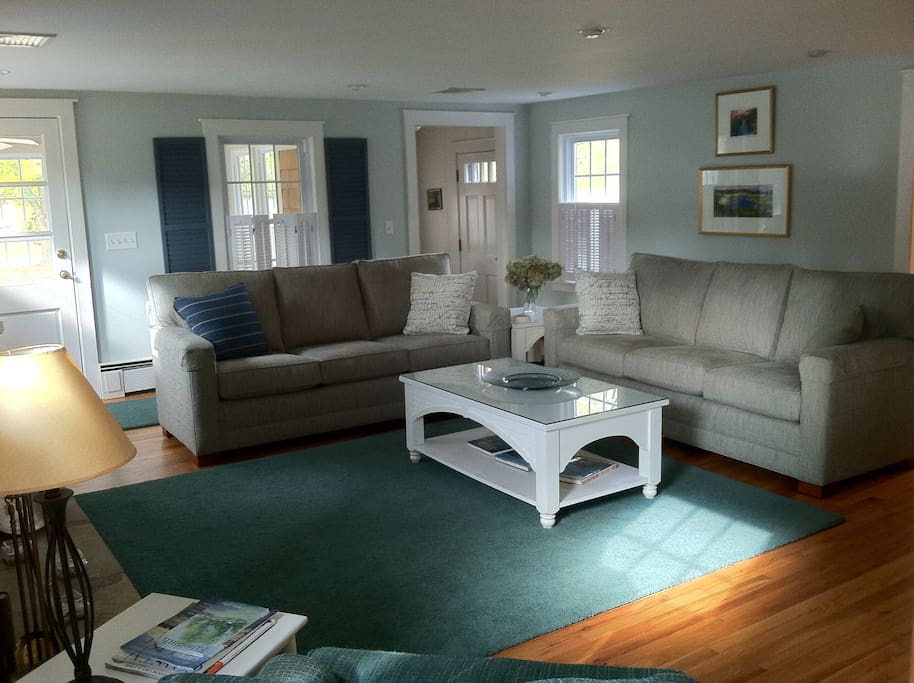 Comfortable two sofa living room will accommodate large groups.