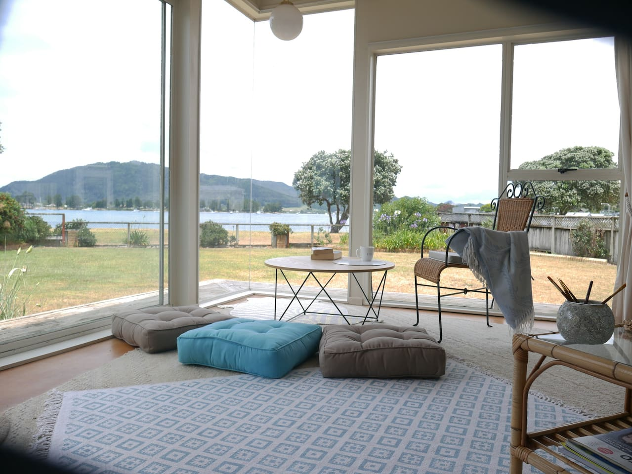 Tairua Airbnb lounge with view of the ocean