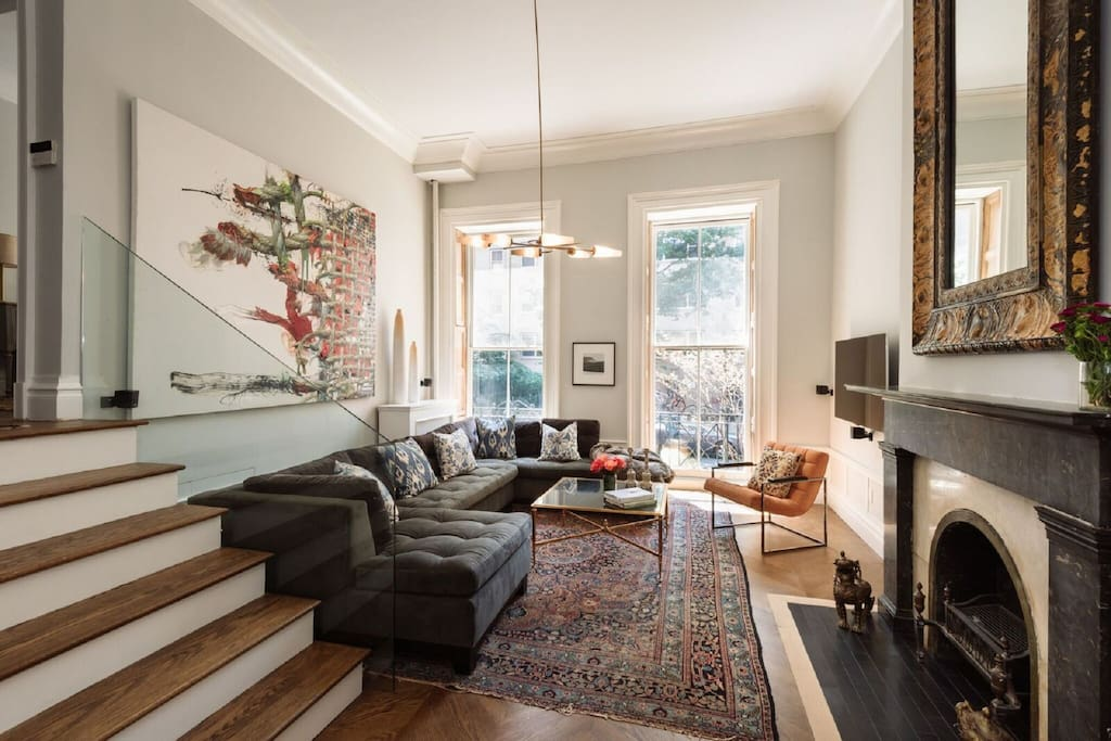 Formal Living Room with 14 Foot Ceilings
