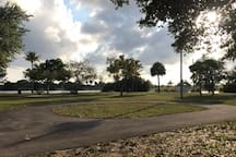 The beautiful peninsula that the smaller playground is on. It has picnic tables and grilling spots.