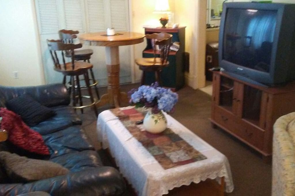 Living Room with bar height lounge table T.V.and leather couch ..