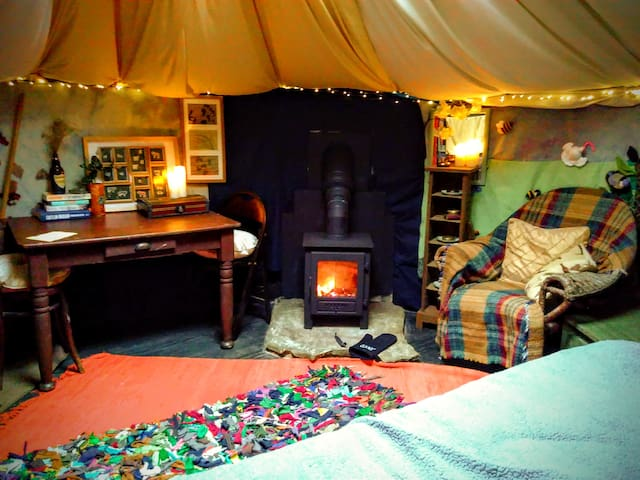Our Esse wood burner heats the yurt up to toasty temperatures