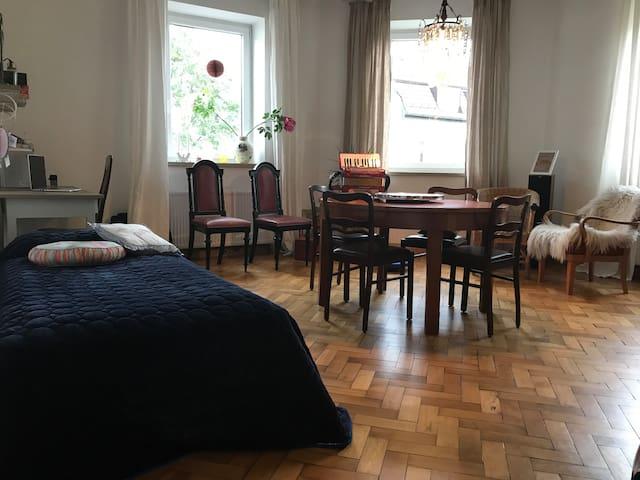 Wohnbereich mit zusätzlichem Bett und Schreibtisch