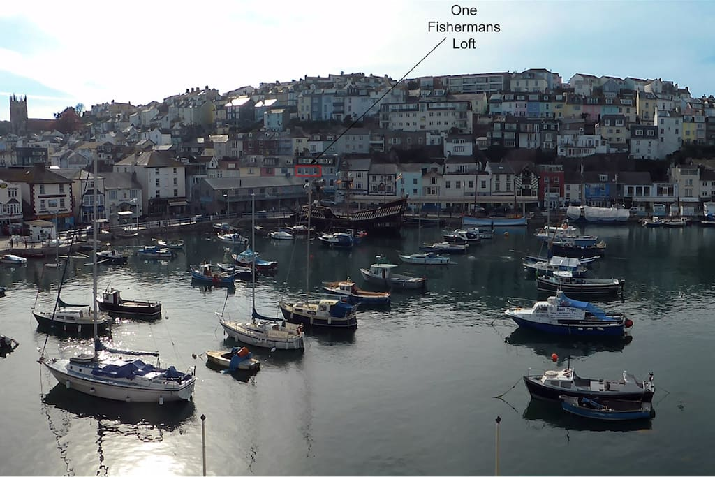 Brixham harbour, with the location of One Fishermans Loft shown