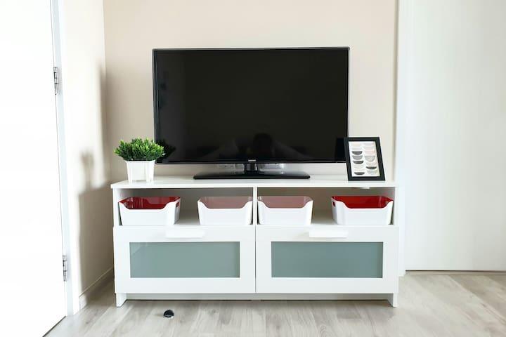 "45"" Smart TV  & Free high speed Wi-Fi"