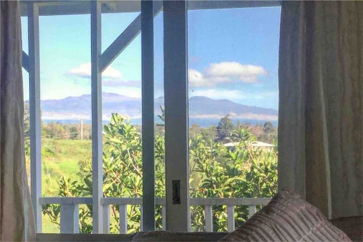 Beautiful views of lush tropical nature and Mauna Kea plus the ocean from the other window. Easily the best room and most popular in our house! :)