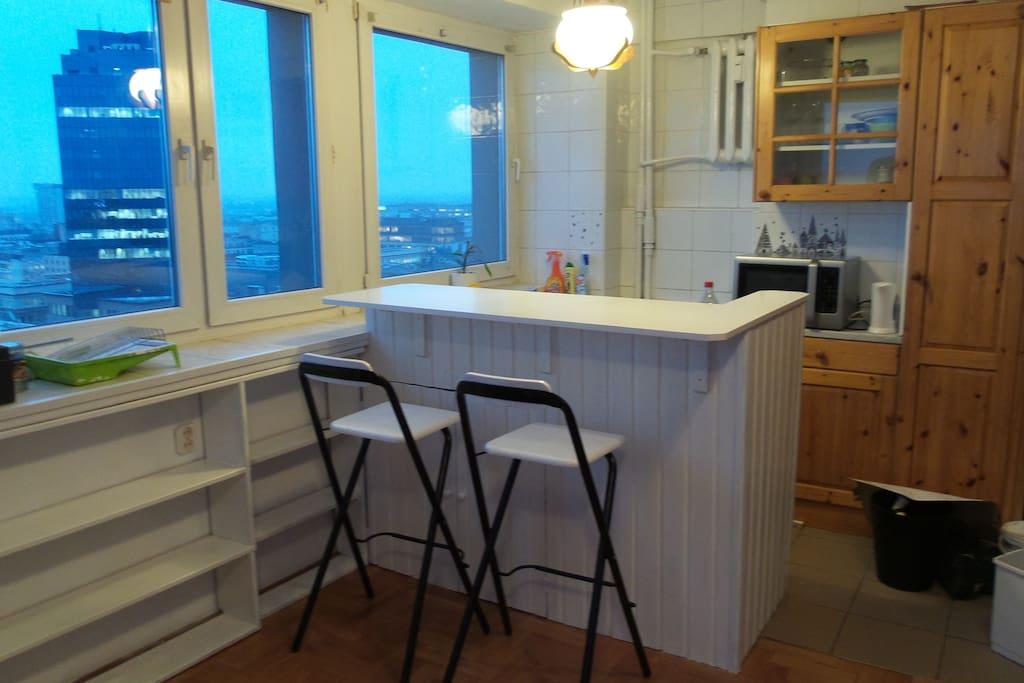 widok z okien kuchni