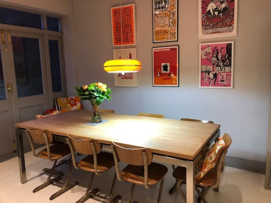 Large dining table in the kitchen for special meals with friends and family.
