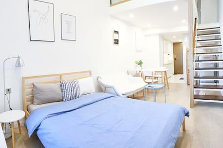 SACO Family | 复式LOFT| 家庭双床 |地中海北欧蓝白设计 |拱北口岸&近港澳