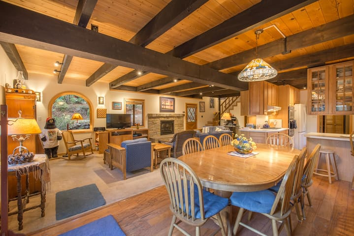 Open great room (family room, dining area, kitchen)