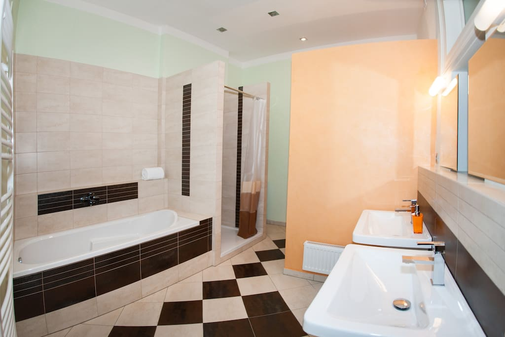 Bathroom with bathtub, shower, bidet and WC and equipped by warm floors