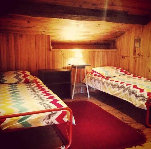 Two single beds in a loft/attic - Feytiat - Loft