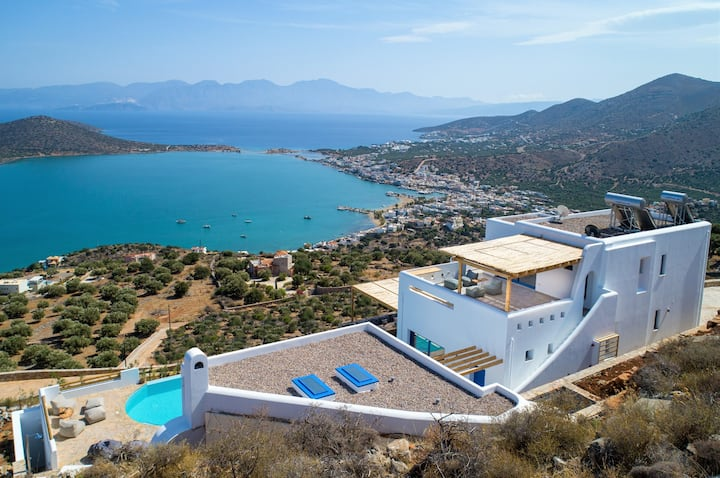 Heated pool★Elounda★Stunning sea view★Brand new